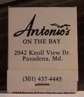 Rare Vintage Matchbook Q1 Pasadena Maryland Antonio's On The Bay Bird Hog Neck