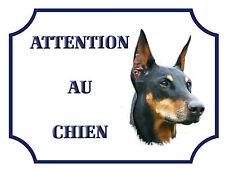 """Plaque Alu 15x20cm """"Attention au chien"""" Doberman"""