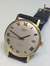 VINTAGE  MEN'S ORIS STAR  18 KARAT GOLD  17 JEWELS SWISS MANUAL WIND WATCH 1950s