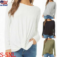 US Women Solid O-neck Long Sleeve Pullover Loose T-Shirt Casual Blouse Tunic Top