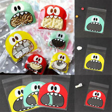 100pcs Biscuit Sweet Bag Self-adhesive Cello Gift Foodie Monster Seal Treat Bag Red Small Size