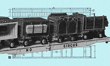 Build a Model HO circus train flat car & 4 circus wagons F/S Printed plan & note