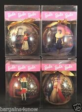 Lot Of 4 Barbie Christmas Ball Ornaments NIP