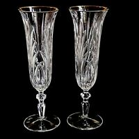 2 (Two) GORHAM ROSEWOOD GOLD Crystal Fluted Champagne Glasses w 24K Trim-DISCNT