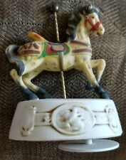 "Vintage 6"" Wind Up Music Box Carousel Horse, Base Turns w/ Music, Tested"