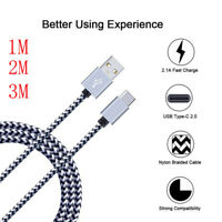 For Samsung Galaxy Note 9 S9 A9 A8 2018 Nylon USB Type C FAST Sync Charger Cable