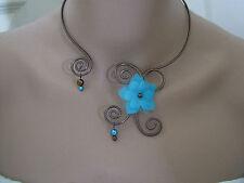 Collier Turquoise/Chocolat p robe d Mariée/Mariage/Soirée/Coktail Fleur pas cher