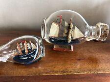 2 Bateaux en bouteille, marine, curiosité BOAT IN THE BOTTLE, souvenir de plage