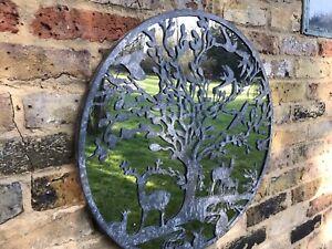 Tree Of Life Garden Mirror Woodland Scene Quirky Garden Mirror Silver Grey Zinc