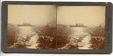 STEREOSCOPE / STEREOVIEW / BATEAU DE GUERRE / WARSHIP / 1° DIVISION CONECTICUT