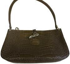 Longchamp Roseau Croco Embossed Leather Shoulder Bag Brown