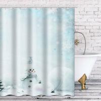 Badezimmer Duschvorhang Wasserfest Uni C-Type Haken Matte Weihnachten Winter