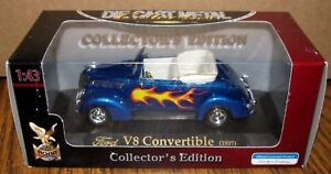 Ford 1937 Hot Rod V8 Convertible Car BLUE 1:43 Yat Ming Toy 94243A Hand Made New