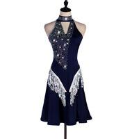 Latin Dance Dress Salsa Tango Cha cha Ballroom Rhinestone Competition Dress 460