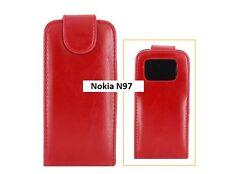 Nokia N97 Estuche Abatible de Cuero (vertical) - Rojo