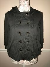 Free People Gray Small Hooded button front 3/4 sleeve top