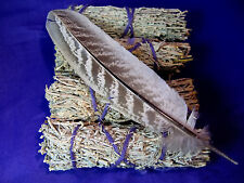 INS003  Set of Four (4) Sage Sticks for Smudging 10cm - Plus Smudge Feather