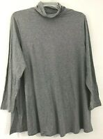NEW J. JILL M L Petite L/S Turtleneck Tunic Knit Top Pima Cotton/Modal/Spx Gray