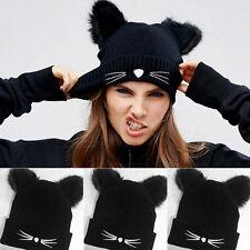 Women Winter Beanie Devil Horns Cat Ear Crochet Braided Knit Ski Fur Cap Hat