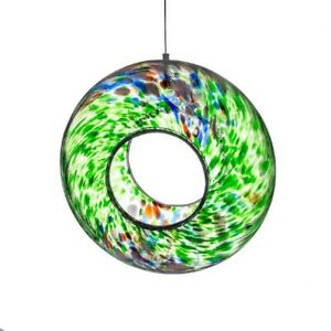 Sienna Glass - MOUTH BLOWN GLASS HANGING BIRD FEEDER - Green Mix