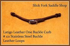 Latigo Leather One SS Buckle Curb Strap with Leather Loops