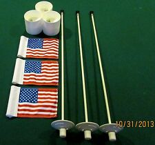 "PUTTING GREEN PACKAGE- 3 POLES -3 AMERICAN FLAGS 6""X8"" 3 ALUMINUM - 4 1/4 ""CUPS"