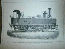 Gravure 19° train chemin de fer locomotive tender à  six roues C. fives à Lille