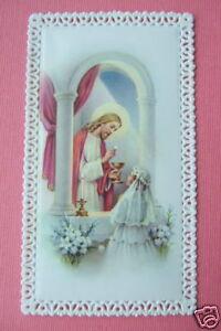Catholic Holy Card LACE 1st HOLY COMMUNION Jesus with Girl
