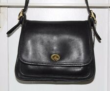 Coach Rambler's Legacy Black Leather Shoulder Crossbody Bag Vintage USA #9061