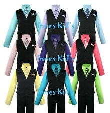 Lot of 20 Various Boys Large Open-Back Tuxedo Vests Discount Resell Theater