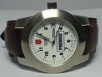 Victorinox Swiss Army Round Date Brown Leather Band Womens Watch NICE