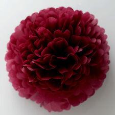 Burgundy tissue paper Pom Poms - handmade - wedding party decorations