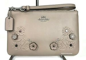 COACH Tea Rose Applique Leather Wristlet Wallet 12056 Stone Gray Floral Studs