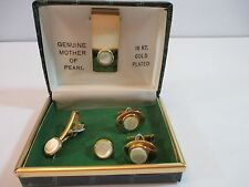 Vintage Mother of Pearl Formal Cuff Link and Stud Set w/ Box 18kt GP