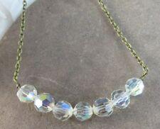 "New Aurora Borealis Quartz Crystal Beaded 16"" Bronze Chain Choker Necklace #247"