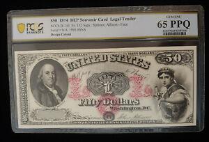 $50.00 1874 Intaglio Banknote PCGS GEM UNC 65 PPQ