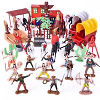 Wild West Cowboys and Indians Toy Plastic Figures Toy Soldiers Native Americ...