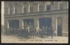 RP Postcard ELKHART Indiana/IN  Horse Drawn Central Fire Department Station 1907