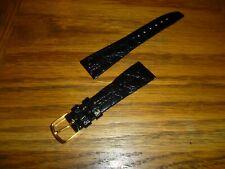 Band Gold Buckle 20mm Lugs D Men'S Croc Grain Black Leather Watch Strap