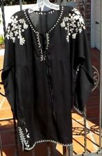BLACK & WHITE EMBROIDERED FLORAL LADIES TOP LARGE SIZE INDIA WITH  FREE SHIPPING