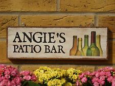 PERSONALISED PATIO BAR SIGNS OUTDOOR BAR OUTSIDE BAR WINE BOTTLES BEER BOTTLES