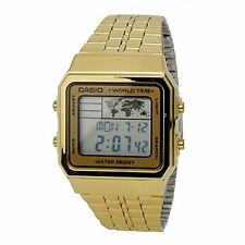 Casio Classic Series Digital Men's Gold Stainless Steel Strap Watch A500WGA-9D