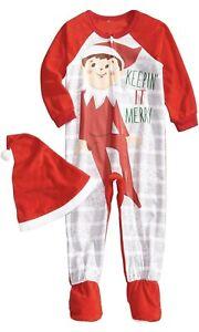 Elf on the Shelf One Piece Blanket Sleeper Union Suit Pajamas PJ's with Hat NWT