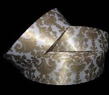 """5 Yards Sale Ornate Fleur Ornamental Damask Gold White Satin Ribbon 1 1/2""""W"""