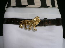 Cute Women Hip Brown Leather Casual Fashion Belt Gold Metal Lion Buckle Size M L