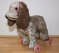 Old and Vintage Antique Poodle Dog on Wheels pull along toy mohair plush rare