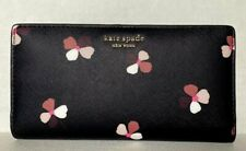 New Kate Spade Cameron Large Slim Bifold Leather wallet Dusk Buds Ditsy Black