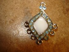 Vintage metal button/pendant with blue rhinestones