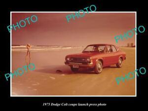 OLD POSTCARD SIZE PHOTO OF 1975 DODGE COLT COUPE LAUNCH PRESS PHOTO