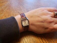 Women's Kenneth Cole Watch brown leather band silver w gold hour/min hands & #'s